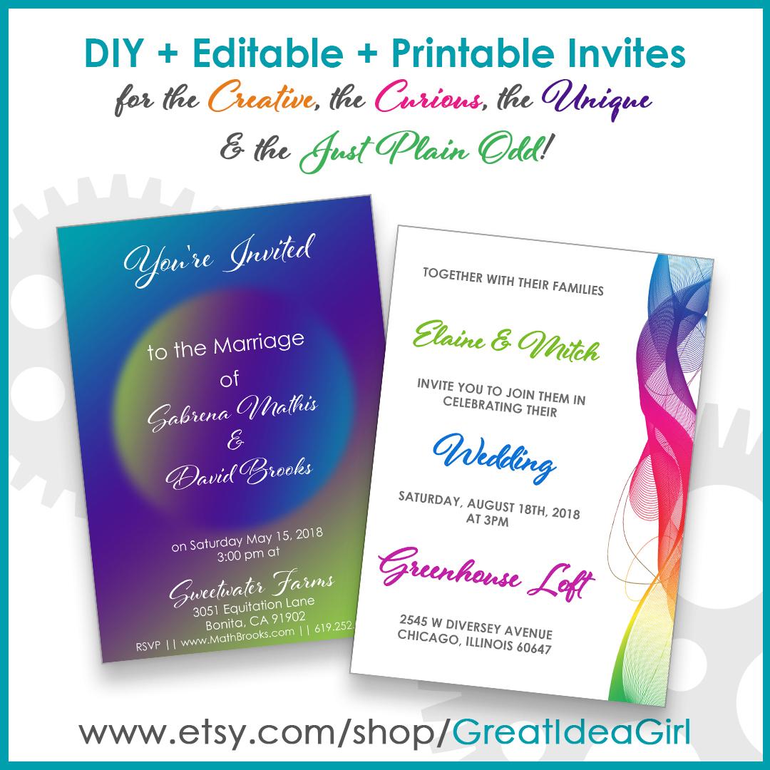 Moonscape & Rainbow Invitation Templates
